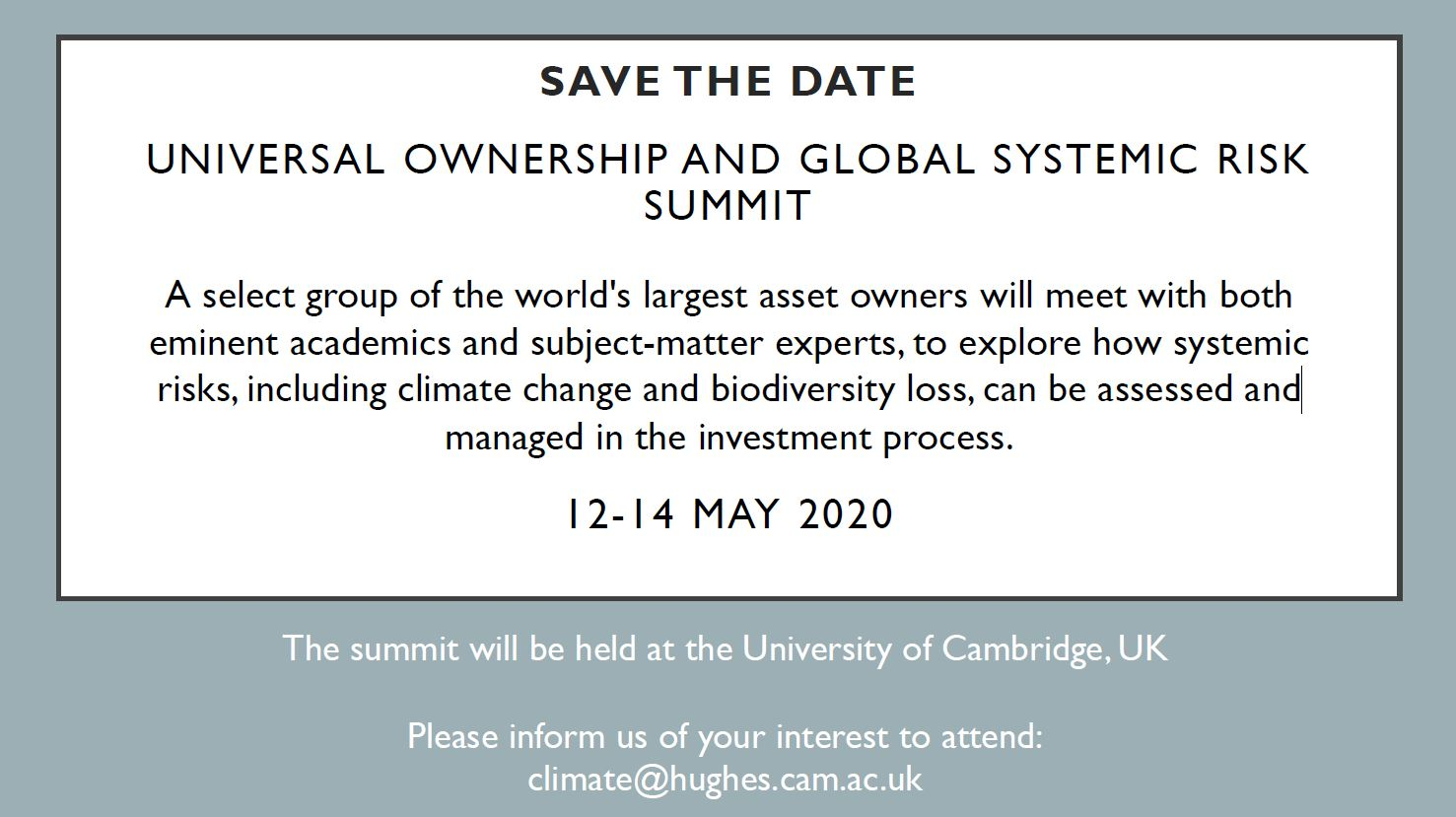 Universal Owner Summit save the date